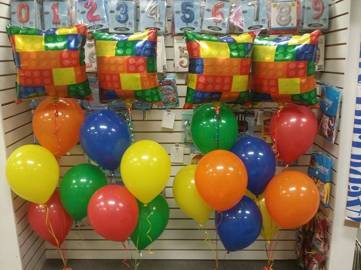 Lego Balloon Bouquets Call It's Party Time at 618-651-1505 if you like this idea and let us help you decorate your event.