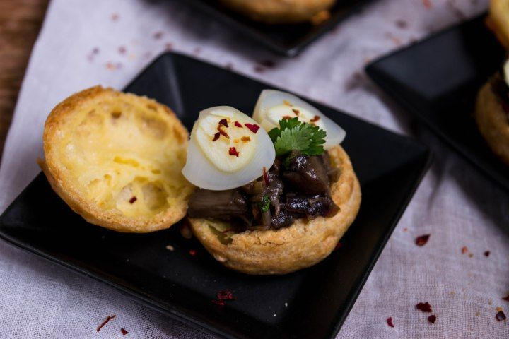 Mushroom and Quail egg Gougere- something fancy yet simple.