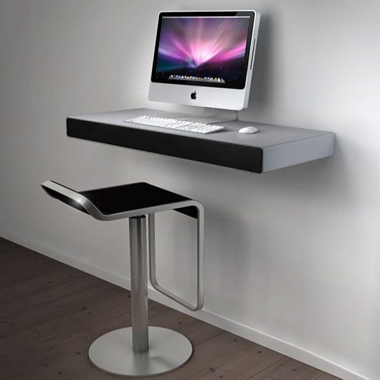 Super Minimalist Wall Mounted iMac Desk on White Wall