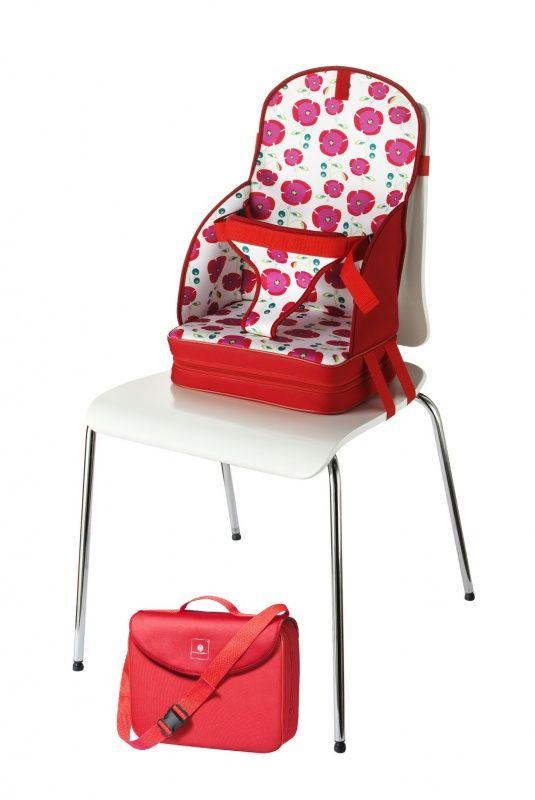 Kinderstoeltje On The Go | Rood  Deze stoelverkleiner / stoelverhoger is gemakkelijk als tasje mee te nemen, want eenmaal gesloten verandert het in een handige schoudertas met groot zijvak, licht van gewicht. Makkelijk voor thuis maar natuurlijk ook om mee te nemen naar een restaurant.