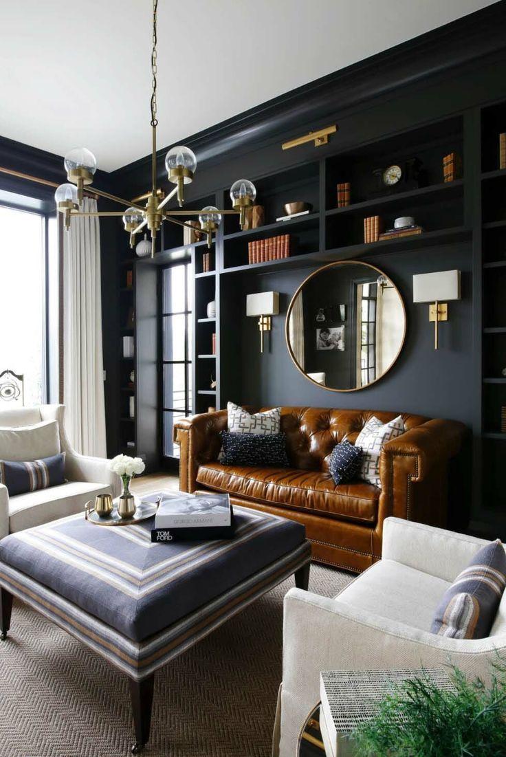 10 wunderschöne Wohnzimmer mit schwarzen Wänden, die ein