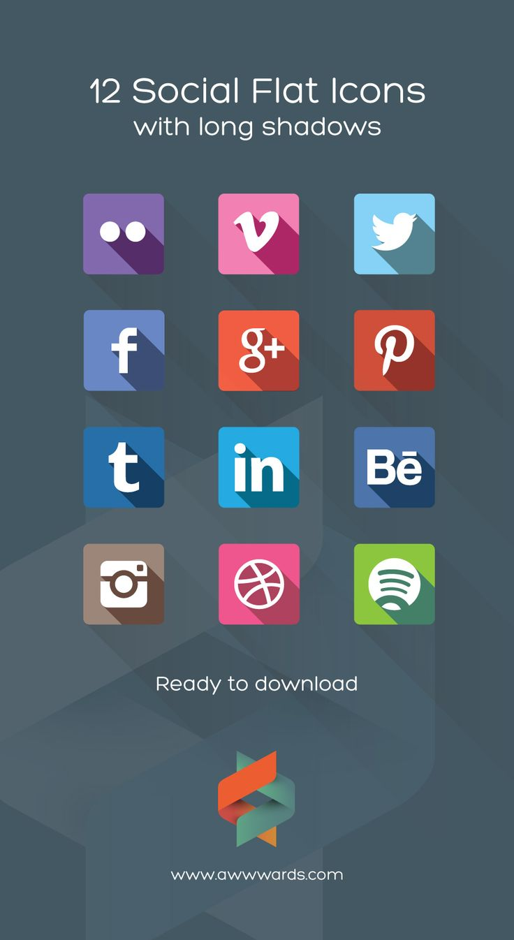 Download 12 Social Flat Icons Flat Long Shadows: Step-by-step Tutorial, Resources and Examples