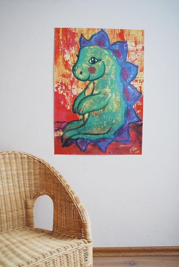 A2 Kinderzimmerposter Grüner Drache von LittleWalkingWolf auf Etsy // nursery poster green dragon