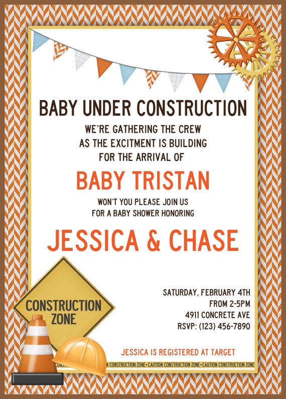 Printable Under Construction Baby Shower by WhimsicalPrintables, $15.00