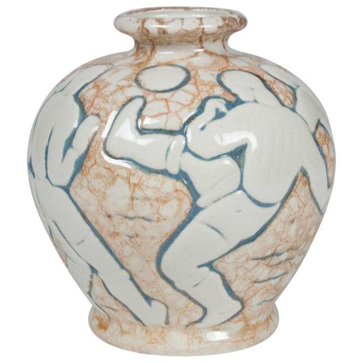 Soccer or European Football Vase by Mougin Freres 1