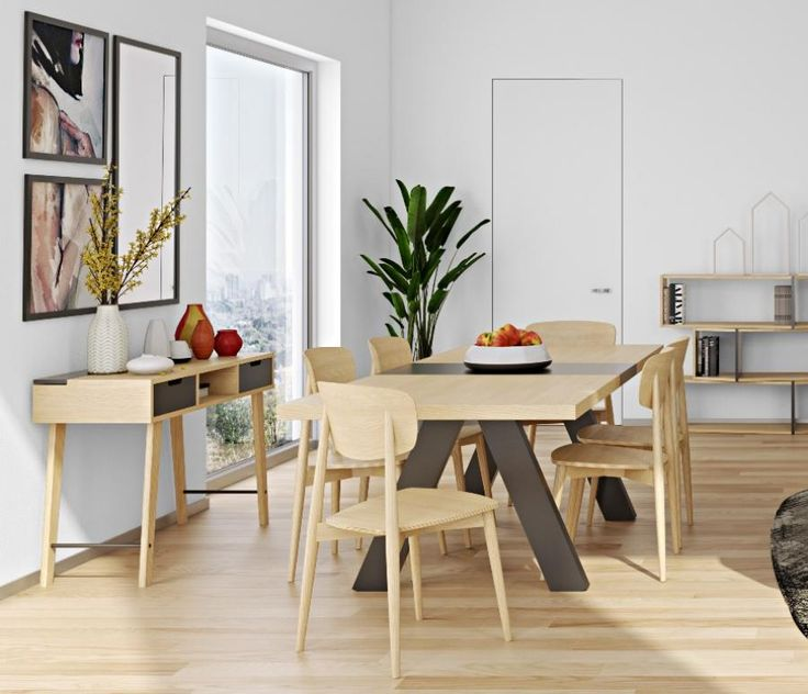Temahome apex modern fixed or extending dining table in oak and matt black lacquer table à manger contemporainemobilier contemporainmeubles de