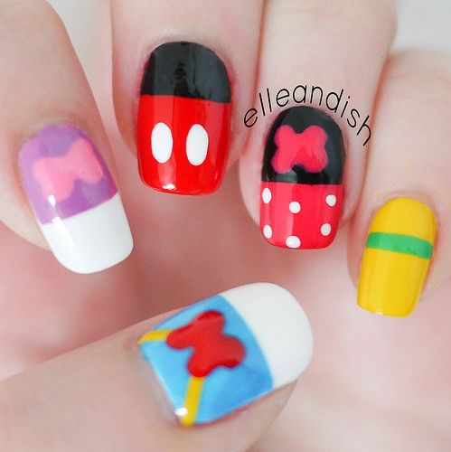 Abstract Walt Disney Inspired Mickey & Friends Nails // elleandish