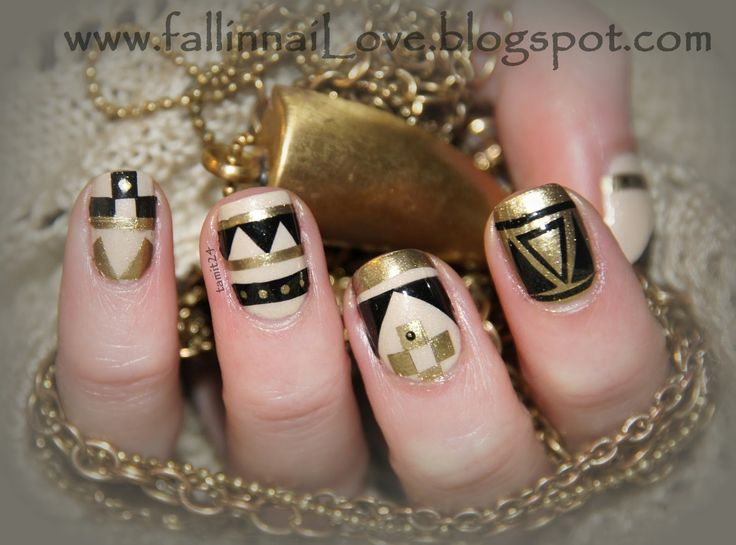 fall in ...naiLove!: golden aztec nails...