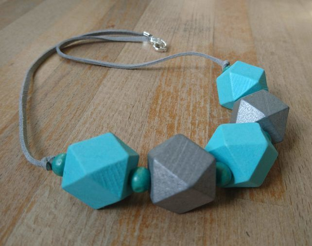 Chunky wooden geometric necklace in aqua and silver £15.00