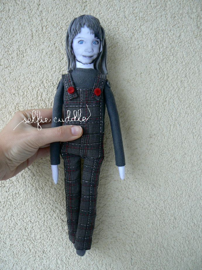 personalised handmade doll with printed face, girl in overall
