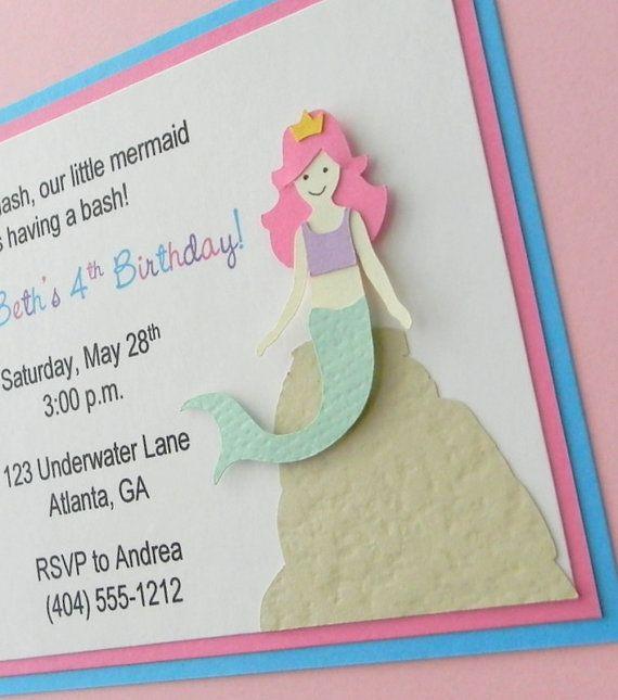 handmade MERMAID birthday party invitation by plumcakeparties, $2.50