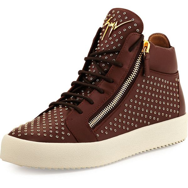 Giuseppe Zanotti Leather Mid-Top Sneaker with Eyelets ($995) ❤ liked on Polyvore featuring men's fashion, men's shoes, men's sneakers, brown, giuseppe zanotti mens shoes, mens lace up shoes, mens brown leather shoes, giuseppe zanotti mens sneakers and mens brown shoes
