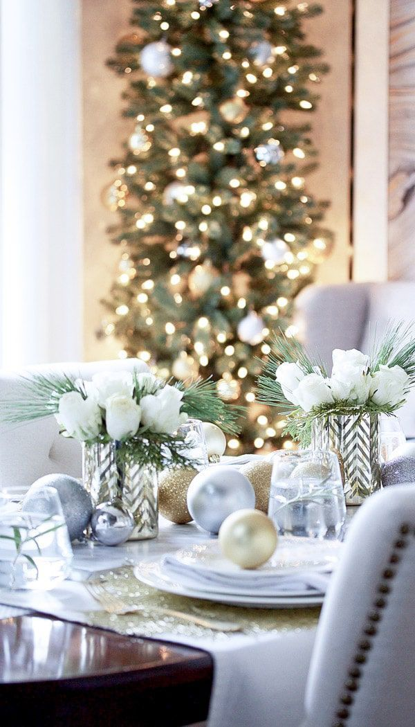 Silver Gold And White Tablescape Stone Gable Blog White Christmas Decorating Ideas Pink Christmas Table Christmas Table Decorations Christmas Tablescapes