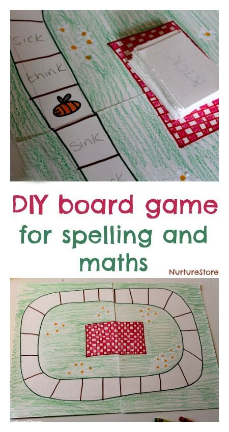 DIY board game for kids: great suggestions for spelling games or math. Could be adapted to feelings and used in play therapy.