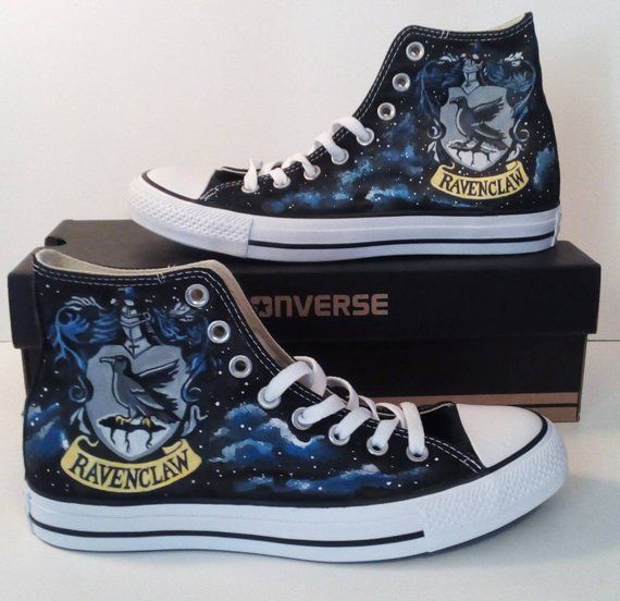 Galaxy Hogwarts Ravenclaw Crest Fan Art Hand Painted Converse All Star Hi Top Sneakers Black Many Si All Star Azul Sapatos All Star