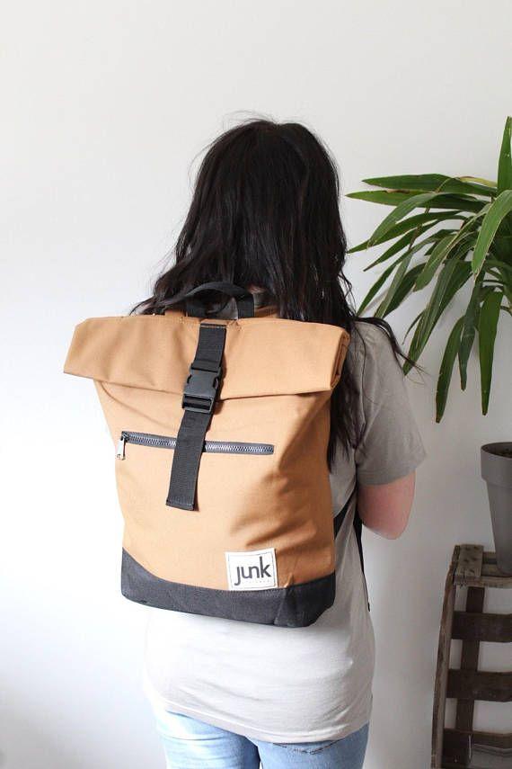 Boardwear UNISEX roll top rucksack in Tan backpack travel