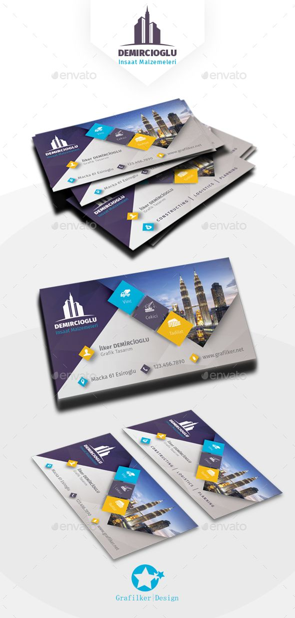 Construction Business Card Templates — Photoshop PSD #transfer #rigging • Available here → https://graphicriver.net/item/construction-business-card-templates/17230471?ref=pxcr