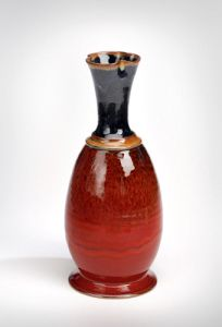 Stoneware Vase, Copper Red bottom with Black top. Fired in a reduction Kiln, www.donnzver.com