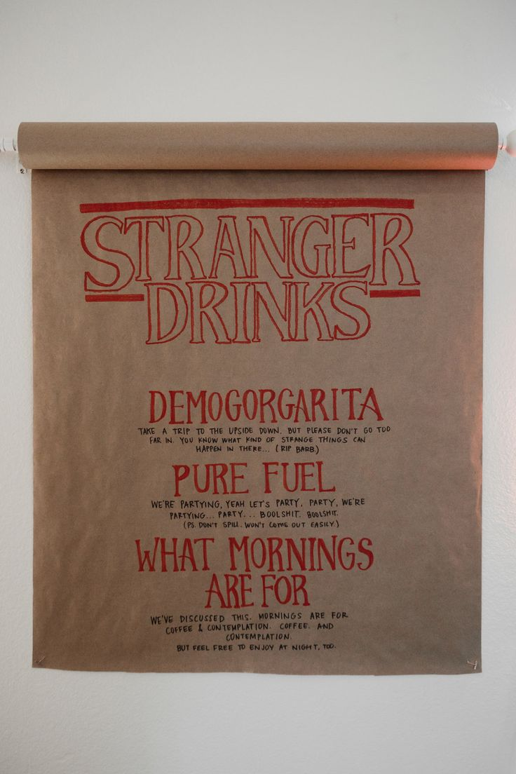 """Stranger Things Halloween Party - cocktail menu """"stranger drinks"""" - see recipes over at www.emilyilluminate.com/stranger-things-halloween-party"""