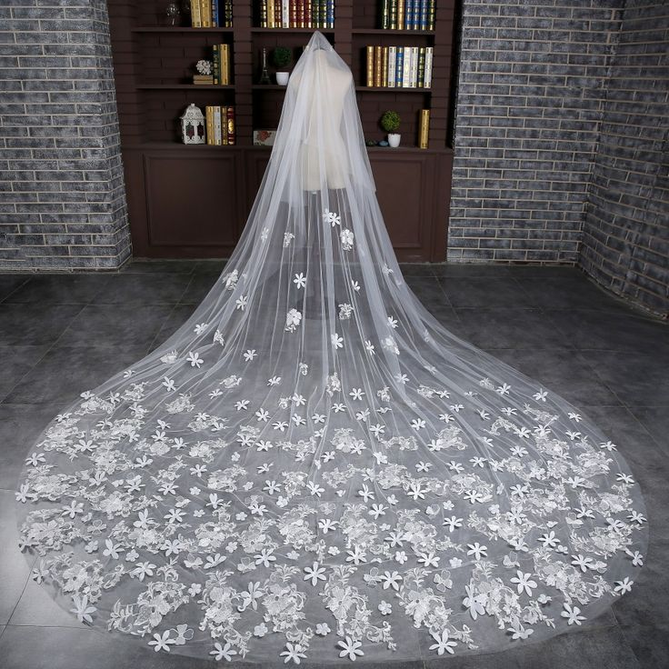 >> Click to Buy << Elegant One-Layer 2016 New Arrival White Flowers Applique Edge Long Wedding Veil Bridal Veils Wedding Accessories Wedding Veils #Affiliate