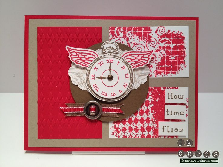 "Stampin' Up!, Mojo 251, Clockworks, Affection Collection, Simply Serif Mini Alphabet, Argyle Embossing Folder, Round Designer Ribbon Slides, Soft Suede 3/8"" Taffeta Ribbon, Real Red 1/8"" Taffeta Ribbon, 2 1/2"" Circle Punch, 1 1/4"" Circle Punch, 3/16"" Metallic Brads"