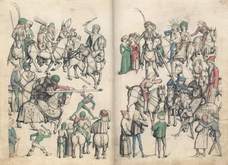 Master of the Housebook. Jousting Tournament. c. 1475/1485. Schloß Wolfegg / Sammlung Fürst von Waldberg zu Wolfegg und Waldsee. Wolfegg, Germany. Bildindex der Kunst und Architektur.
