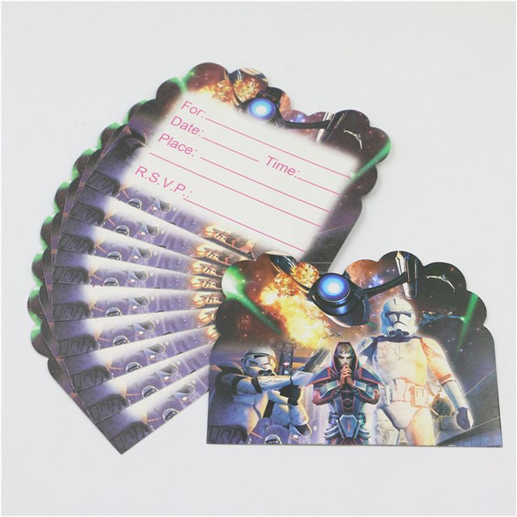 10pcs Kids Favors Disposable Star Wars Paper Invitation cards Baby Shower Cartoon Theme Decoration Happy Birthday Party Supplies