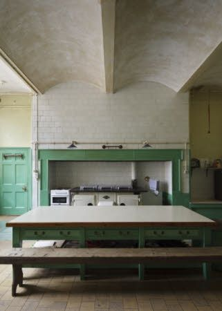 TYNTESFIELD, Wraxall, Bristol, North Somerset, England. The Kitchen, showing the fireproof construction ceiling.