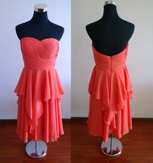 Coral bridesmaid dress, short bridesmaid dress, chiffon bridesmaid dress, junior bridesmaid dress, peach bridesmaid dress by FDesigndress on Etsy https://www.etsy.com/listing/197267701/coral-bridesmaid-dress-short-bridesmaid