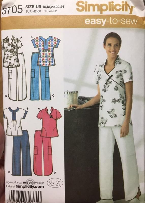 Plus Size Scrub Tops And Pants Sewing Pattern Simplicity 60 Size Fascinating Scrub Patterns