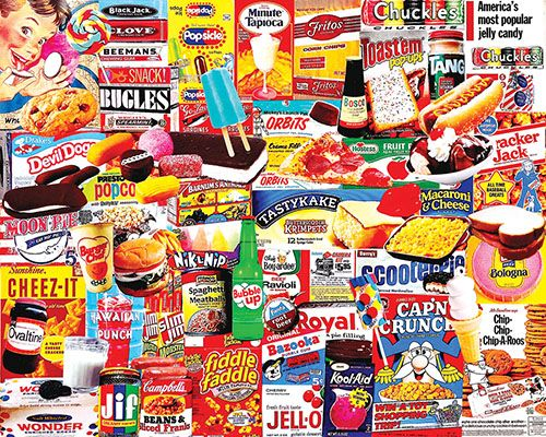 """Things I Ate As A Kid"" ~ a 1000 piece jigsaw puzzle by White Mountain Puzzles. Artist: Charlie Girard"