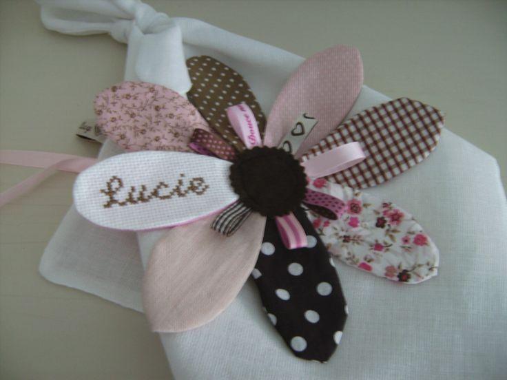Doudou fleur personnalisable/Doudou plat/Doudou étiquettes : Jeux, peluches, doudous par babillage