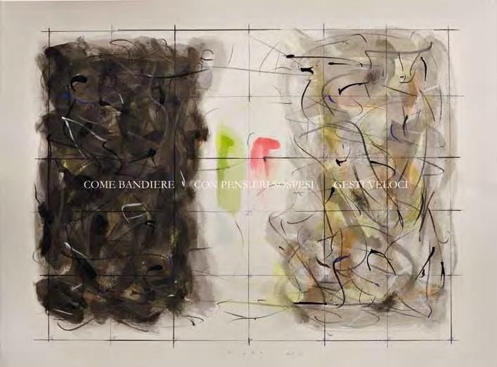 """Pietro Mussini, """"Come bandiere, con pensieri sospesi, gesti veloci"""", tecnica mista su carta, cm 56x76, dal catalogo della mostra """"Novanta artisti per una bandiera"""", ©2013 corsiero editore"""