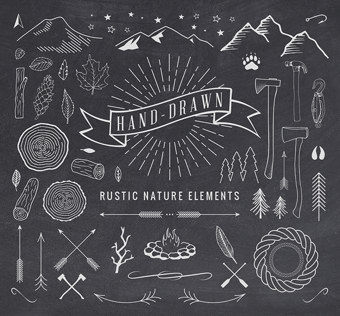 #vector Hand-Drawn Rustic #design elements for website, logo, wedding invitation, etc. Free download.