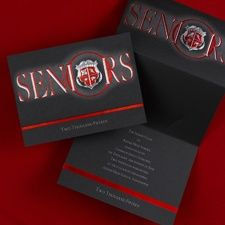 College Graduating Senior's Red Crest Announcements and Invitations. Item Number: GYG670