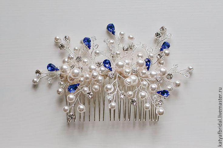 Купить Свадебный гребень для прически - белый, свадебное украшение, свадебный гребень, гребень в прическу