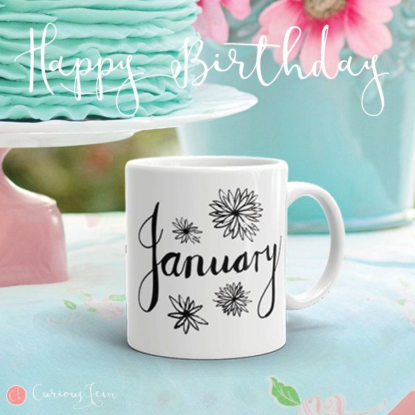 January Birthday Mug – Graphite Sketch Collection – Coffee Mug #coffee #mug #coffeemug #birthday #birthdaygifts #january