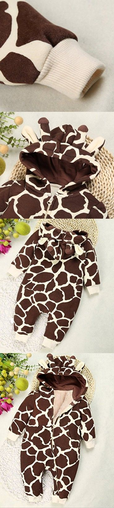 Baby Boys Girls Cartoon Giraffe Print Hooded Romper Warm Thick Onesies Jumpsuit size 6-12Months/Tag80 (Coffee)