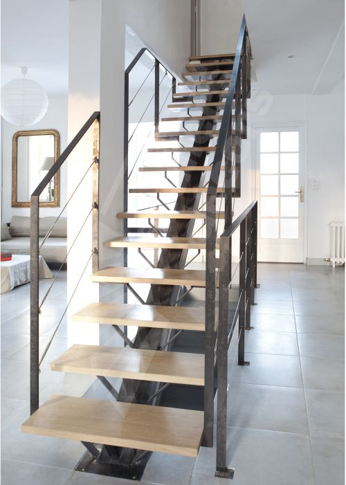 1000 ideas about escalier bois metal on pinterest escalier beton escalier - Escalier limon metal marche bois ...