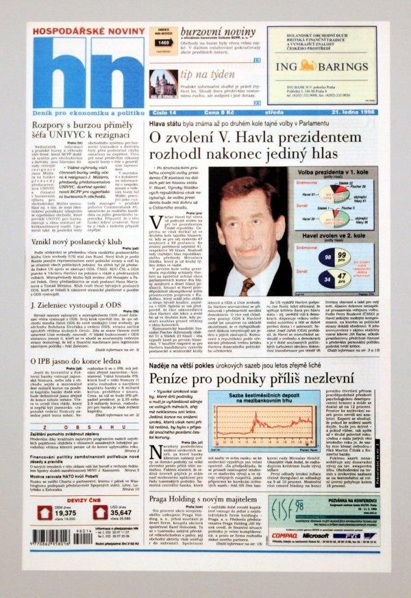 21.1.1998 - Václav Havel podruhé prezidentem České republiky