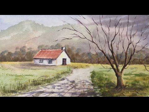 Домик в горах акварелью, безлиственное дерево..Сountry house in watercolour