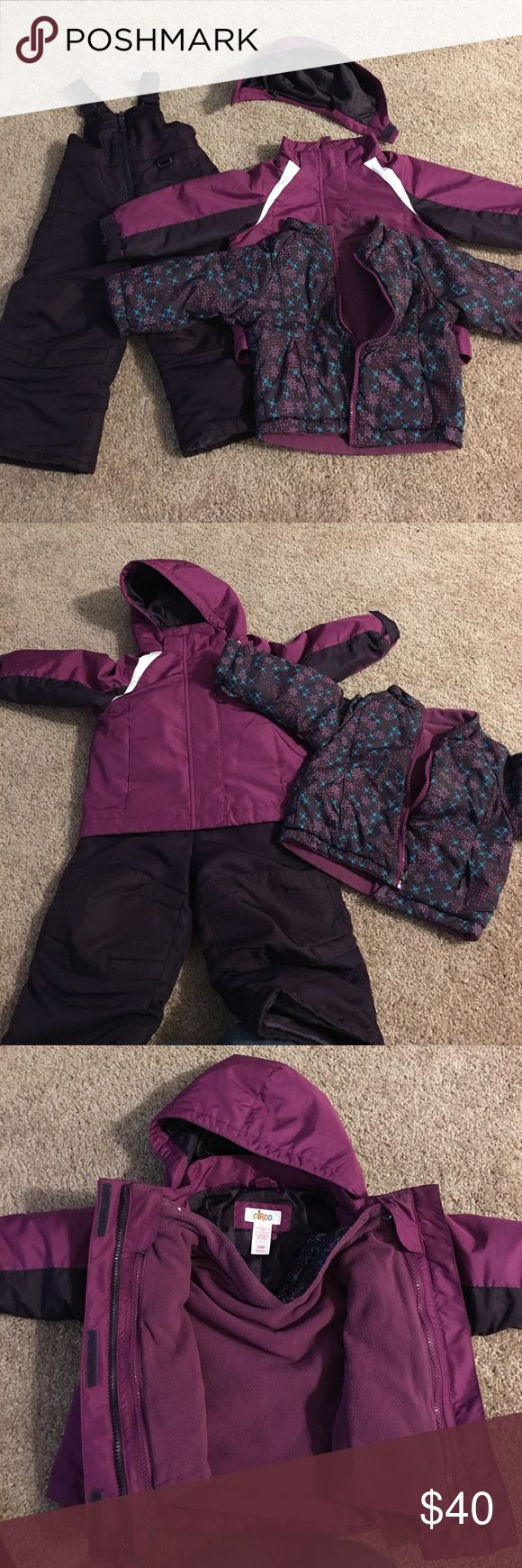 Circo 18mnth snow suit 3 piece ! MAKE OFFER. !So nice and warm ! Removable hood and fleece liner we loved it only wore a couple times though due to her growth spurt .!  Spring jacket fleece jacket plus snow pants or really warm winter coat I love three piece sets.  Make offer Circo Jackets & Coats