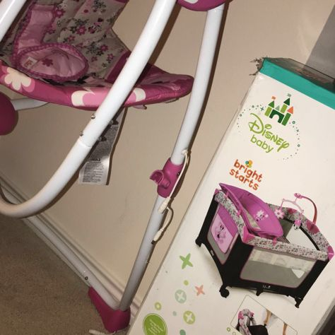 Both baby Minnie swing and pack and play both brand new in boxes for sale