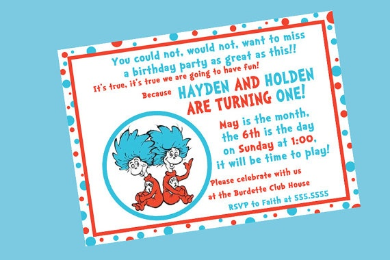 Dr Seuss Thing One and Thing Two Birthday by PartiesandPastries, $10.00
