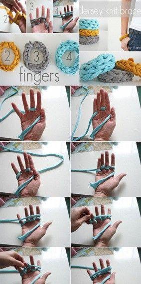 DIY finger knit bracelets!