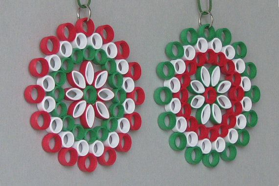 2 Quilling Christmas Ornaments  Red Green White by BarbarasBeautys, $15.00