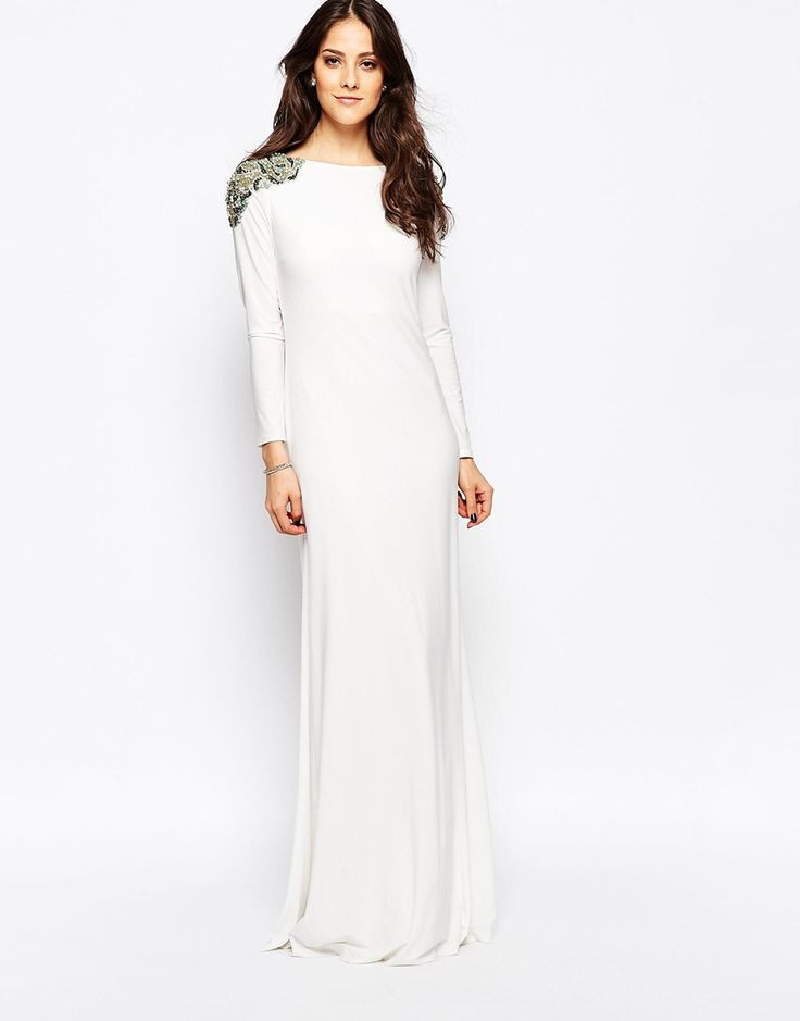 Shop Forever Unique Calista Long Sleeve Maxi Dress with Embellished  Shoulders and Open Back at ASOS.