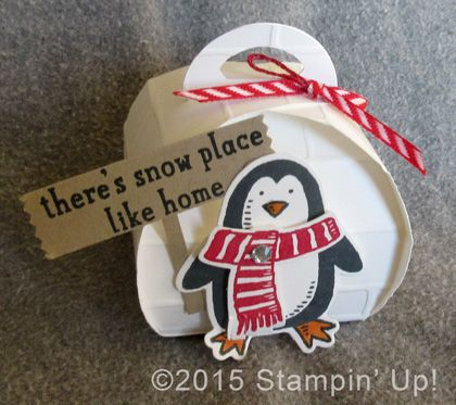 Stampin' Up! Christmas Igloo - Curvy Keepsake Box Thinlits Dies, Snow Place stamp set, Snow Friends Framelits Dies, Brick Wall Embossing Folder and Washi Label Punch