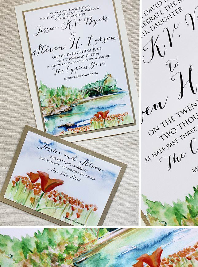 jessica b watercolor landscape wedding invitations stationery