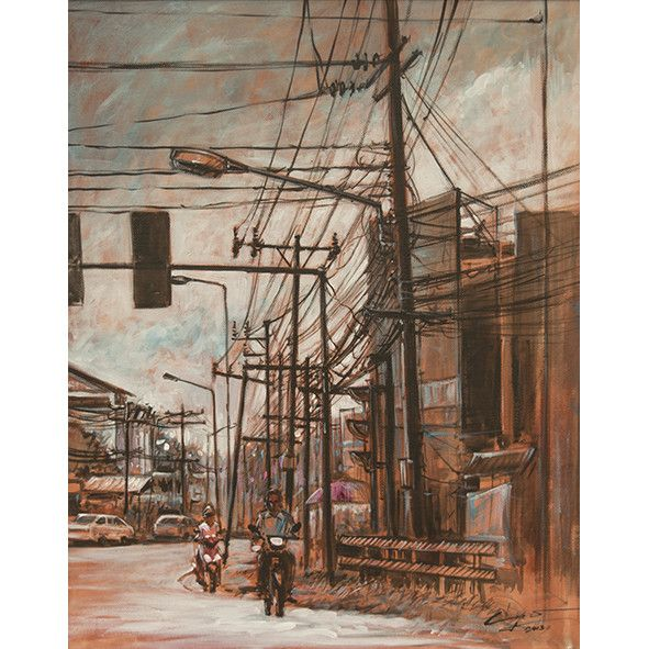 I Love Phuket - Original Acrylic painting on Canvas by Phuket based artist Yongyuth Ruyant. Thailand